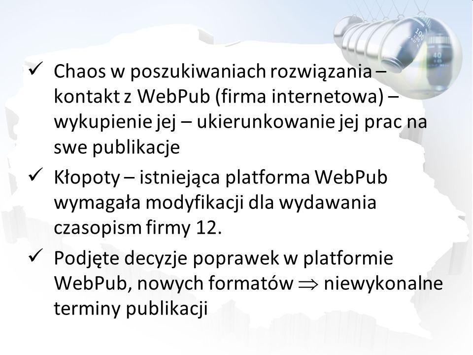 Chaos w poszukiwaniach rozwiązania – kontakt z WebPub (firma internetowa) – wykupienie jej – ukierunkowanie jej prac na swe publikacje