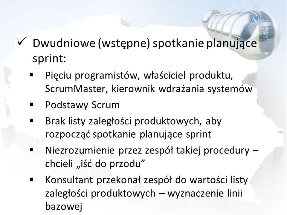 Dwudniowe (wstępne) spotkanie planujące sprint: