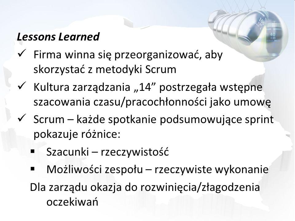 Lessons Learned Firma winna się przeorganizować, aby skorzystać z metodyki Scrum.