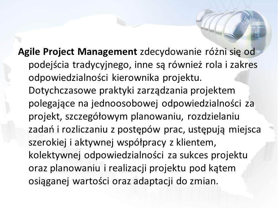 Agile Project Management zdecydowanie różni się od podejścia tradycyjnego, inne są również rola i zakres odpowiedzialności kierownika projektu.