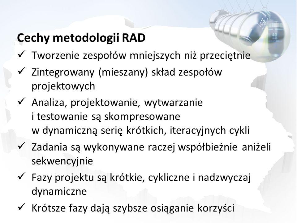Cechy metodologii RAD Tworzenie zespołów mniejszych niż przeciętnie