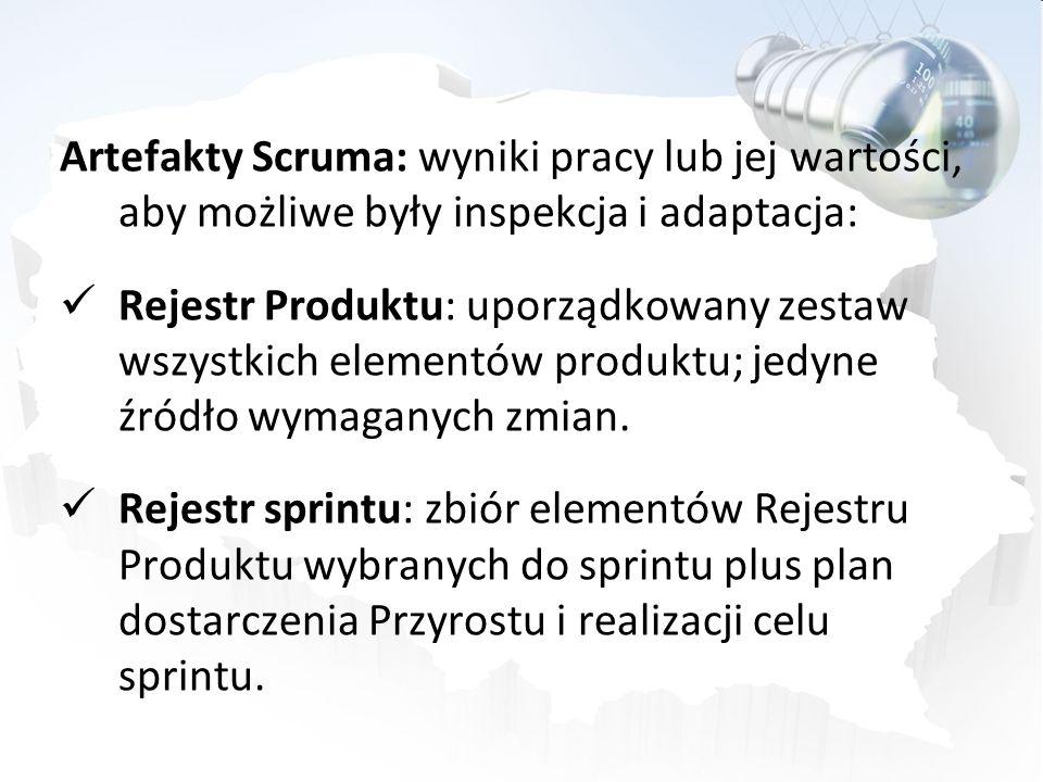 Artefakty Scruma: wyniki pracy lub jej wartości, aby możliwe były inspekcja i adaptacja: