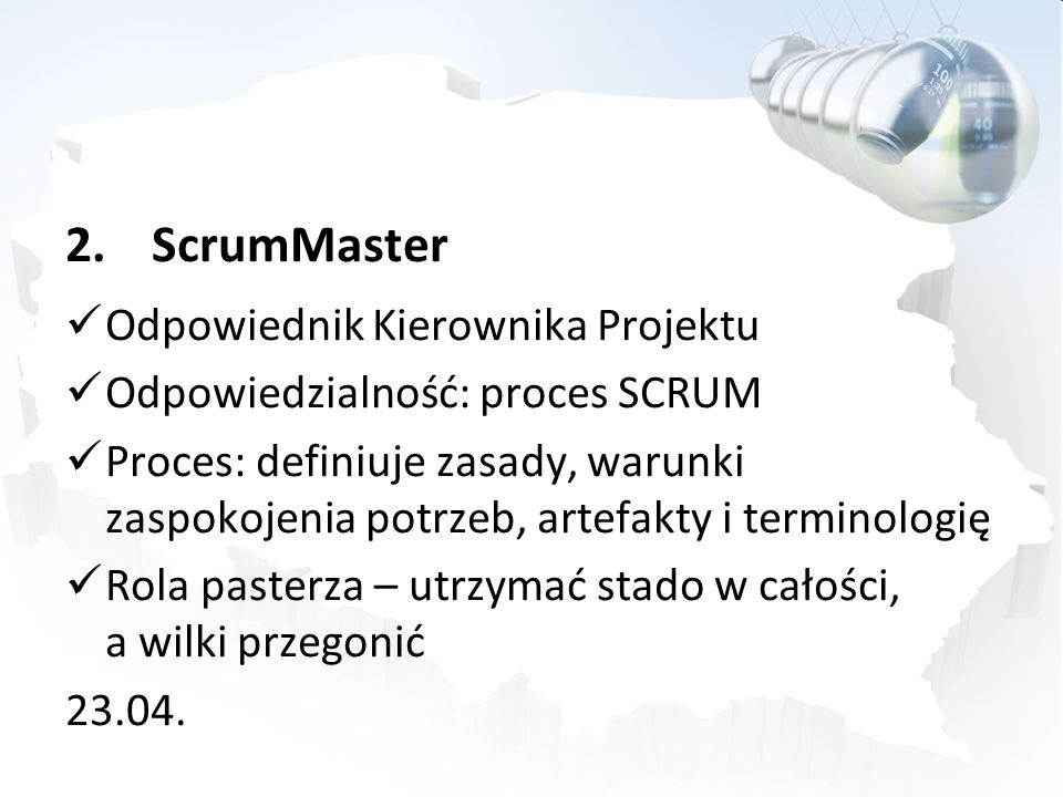 ScrumMaster Odpowiednik Kierownika Projektu