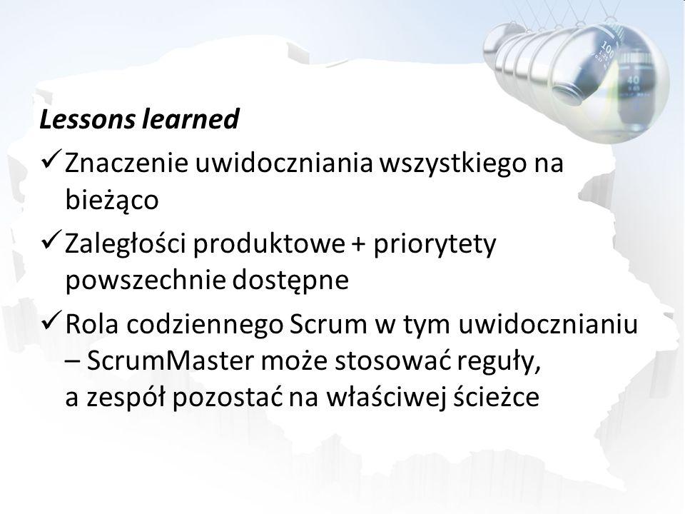 Lessons learned Znaczenie uwidoczniania wszystkiego na bieżąco. Zaległości produktowe + priorytety powszechnie dostępne.