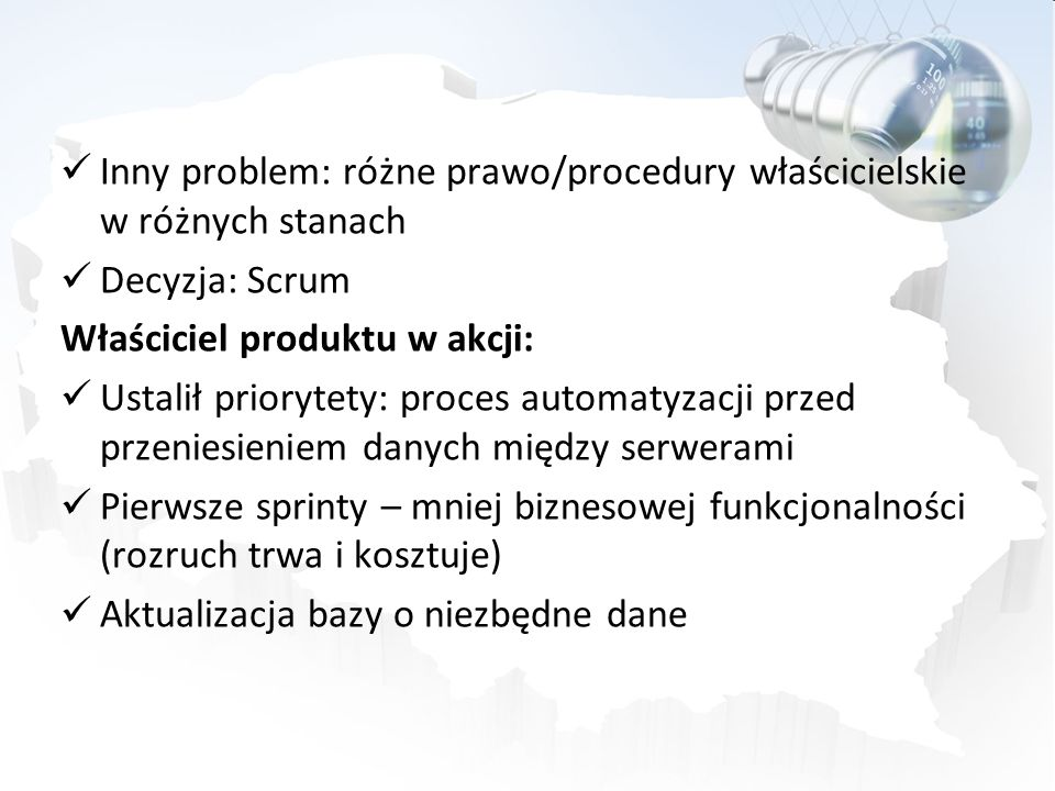 Inny problem: różne prawo/procedury właścicielskie w różnych stanach