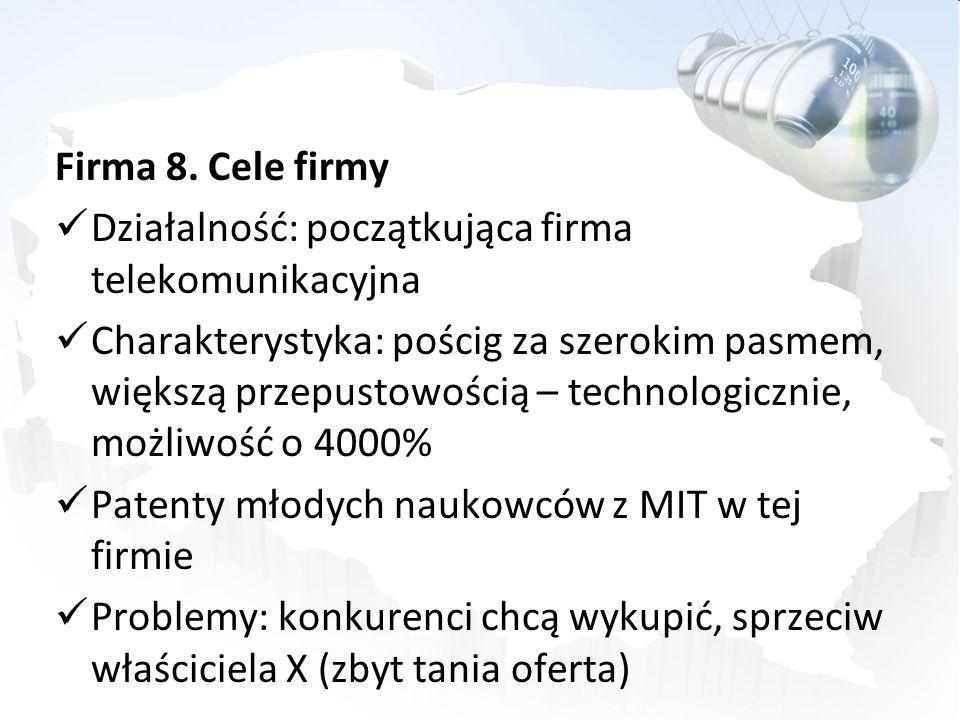 Firma 8. Cele firmy Działalność: początkująca firma telekomunikacyjna.