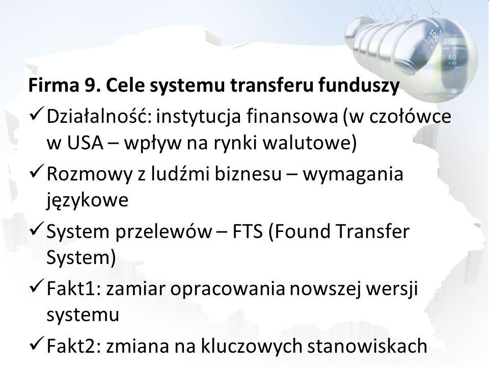Firma 9. Cele systemu transferu funduszy