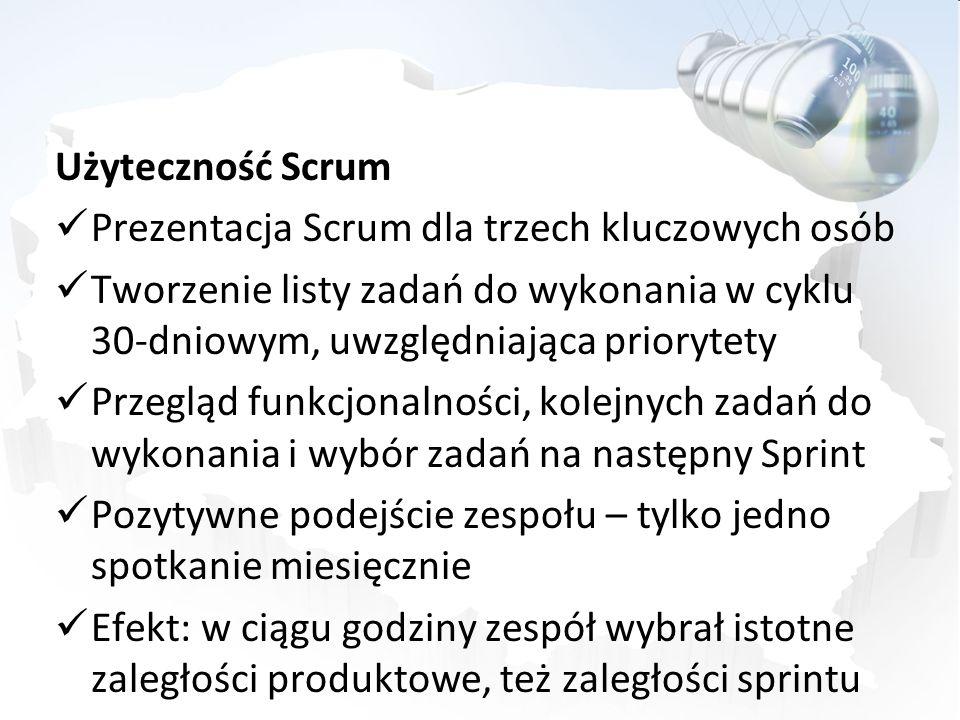 Użyteczność Scrum Prezentacja Scrum dla trzech kluczowych osób. Tworzenie listy zadań do wykonania w cyklu 30-dniowym, uwzględniająca priorytety.