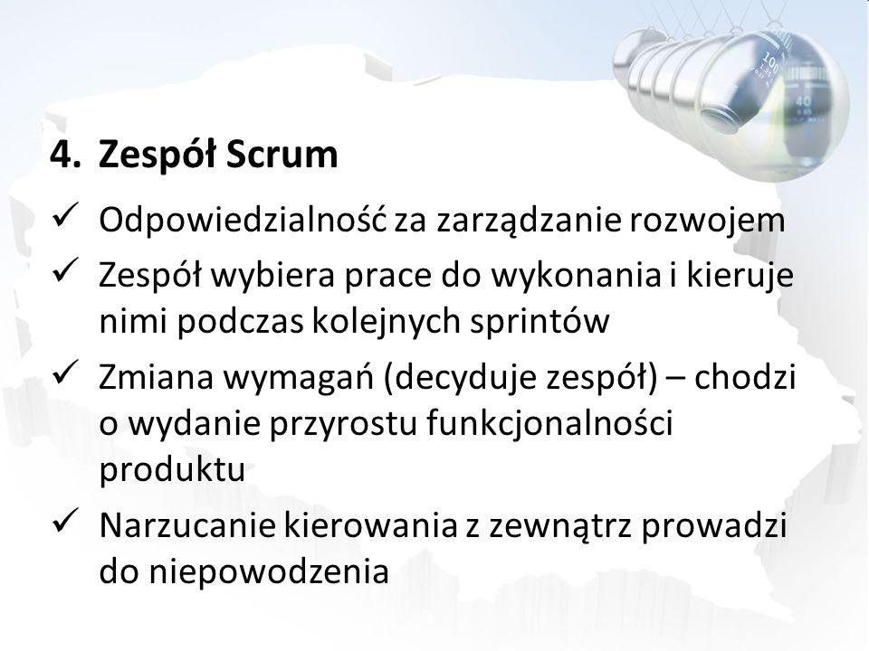 Zespół Scrum Odpowiedzialność za zarządzanie rozwojem