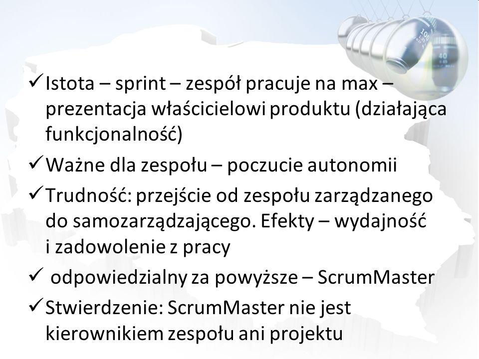 Istota – sprint – zespół pracuje na max – prezentacja właścicielowi produktu (działająca funkcjonalność)