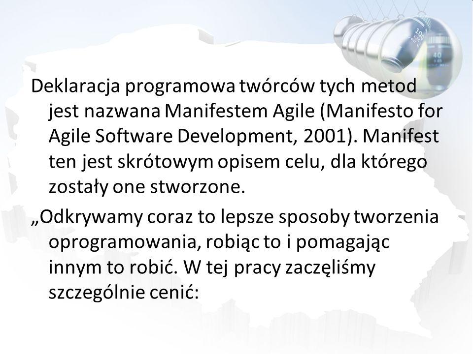 Deklaracja programowa twórców tych metod jest nazwana Manifestem Agile (Manifesto for Agile Software Development, 2001). Manifest ten jest skrótowym opisem celu, dla którego zostały one stworzone.