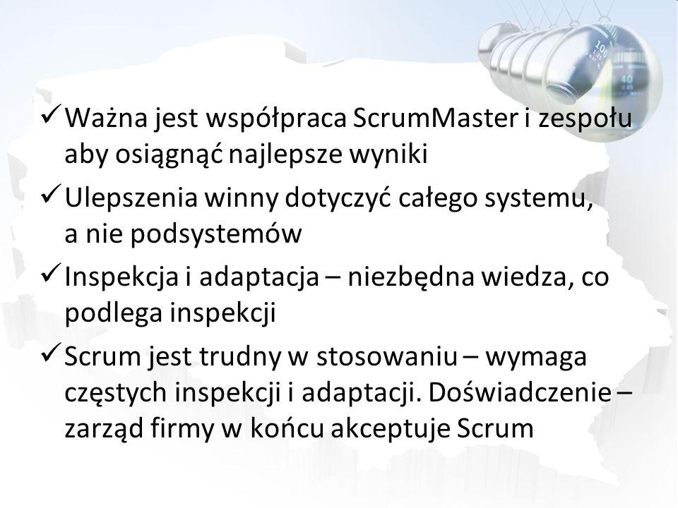 Ważna jest współpraca ScrumMaster i zespołu aby osiągnąć najlepsze wyniki