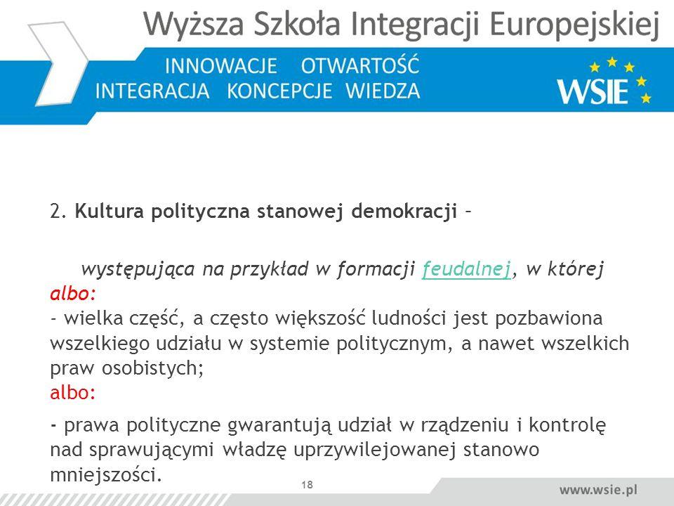 2. Kultura polityczna stanowej demokracji –