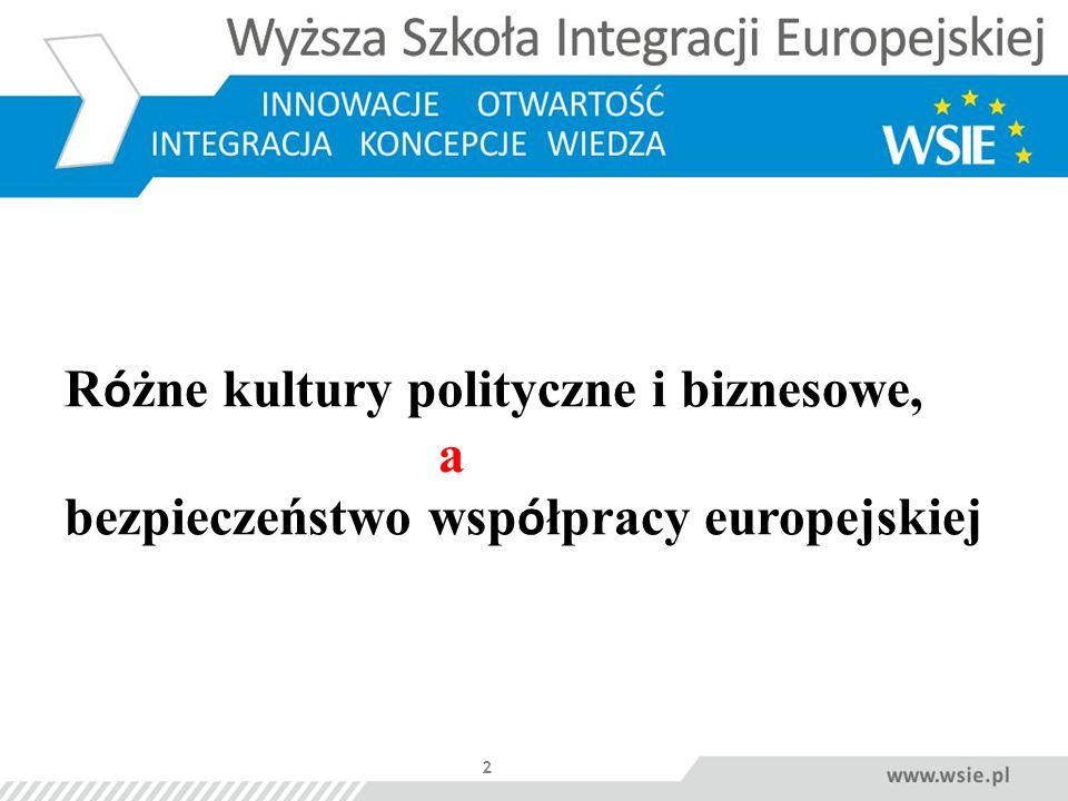 Różne kultury polityczne i biznesowe, a bezpieczeństwo współpracy europejskiej