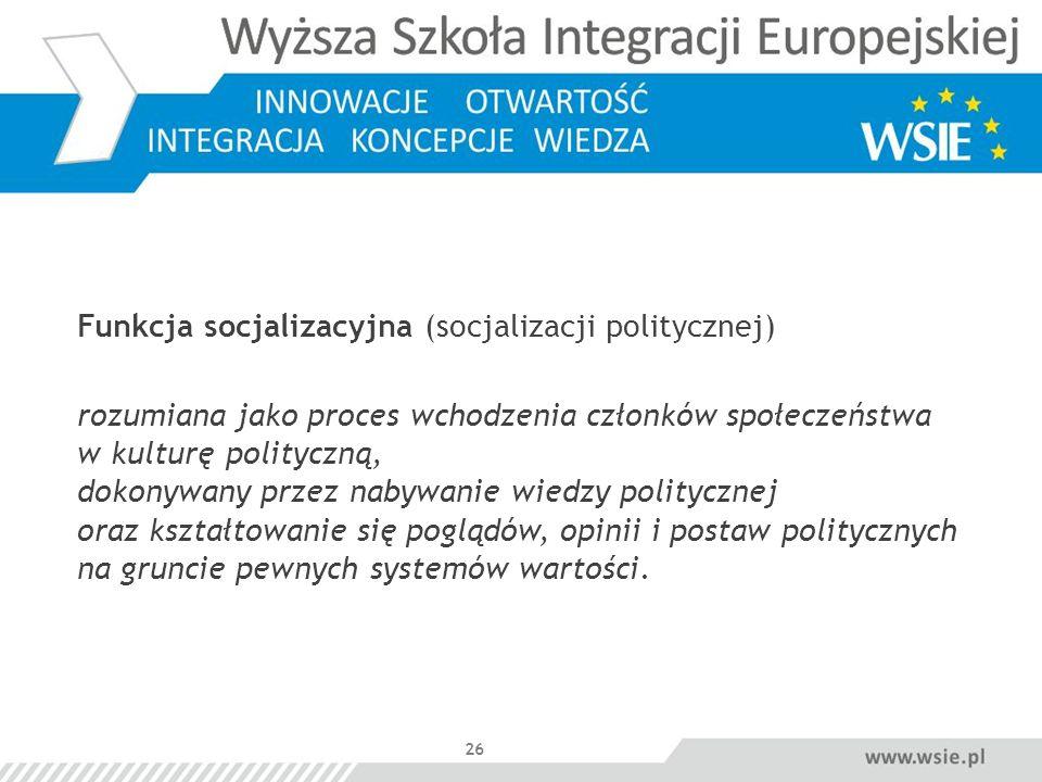 Funkcja socjalizacyjna (socjalizacji politycznej)