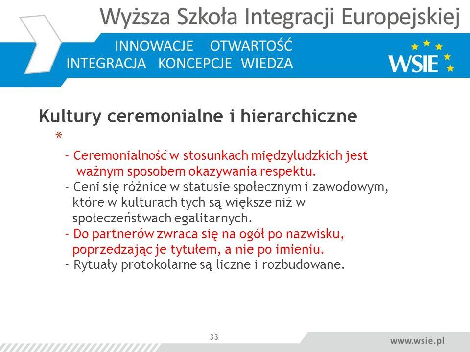 Kultury ceremonialne i hierarchiczne