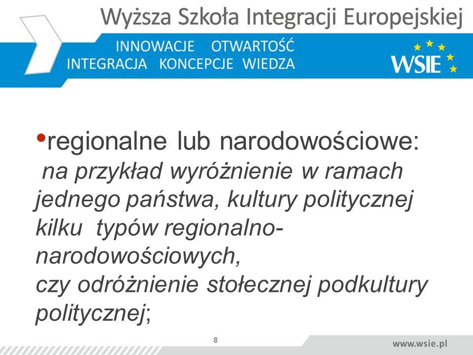 regionalne lub narodowościowe: na przykład wyróżnienie w ramach jednego państwa, kultury politycznej kilku typów regionalno- narodowościowych, czy odróżnienie stołecznej podkultury politycznej;