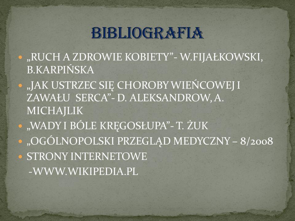 """BIBLIOGRAFIA """"RUCH A ZDROWIE KOBIETY - W.FIJAŁKOWSKI, B.KARPIŃSKA"""