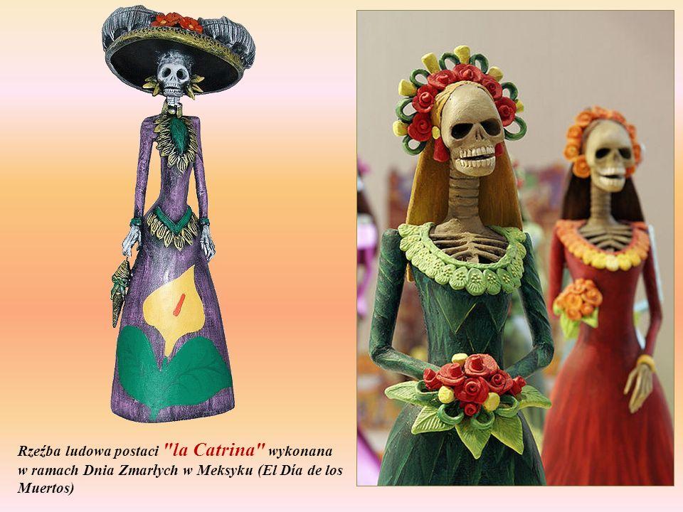 Rzeźba ludowa postaci la Catrina wykonana w ramach Dnia Zmarłych w Meksyku (El Día de los Muertos)