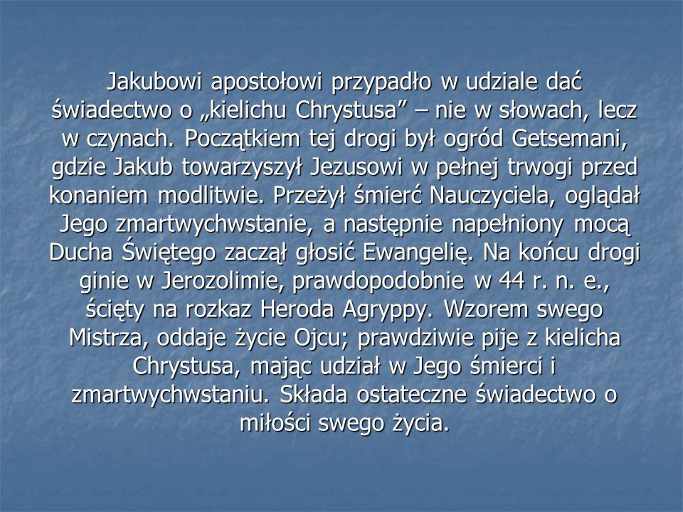 """Jakubowi apostołowi przypadło w udziale dać świadectwo o """"kielichu Chrystusa – nie w słowach, lecz w czynach."""