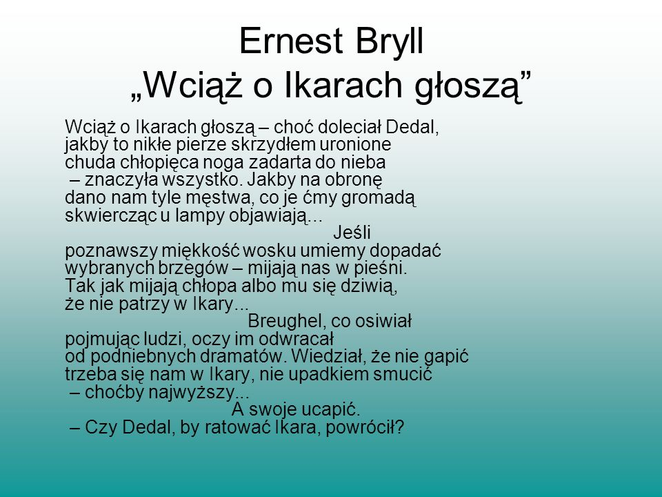 """Ernest Bryll """"Wciąż o Ikarach głoszą"""