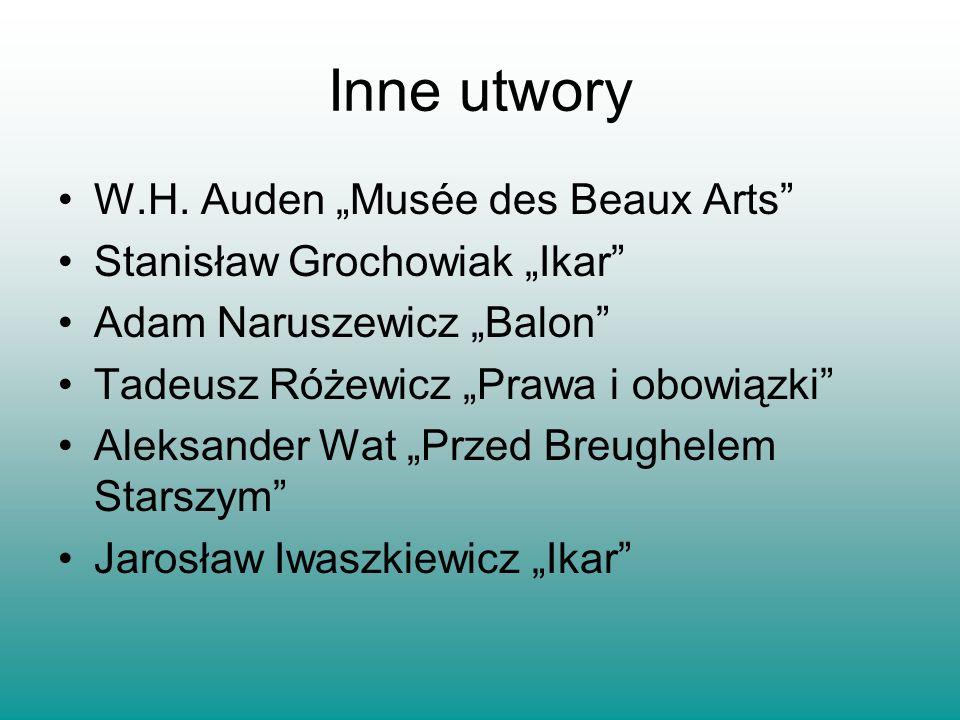 """Inne utwory W.H. Auden """"Musée des Beaux Arts"""