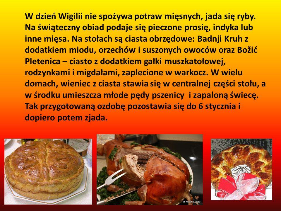 W dzień Wigilii nie spożywa potraw mięsnych, jada się ryby