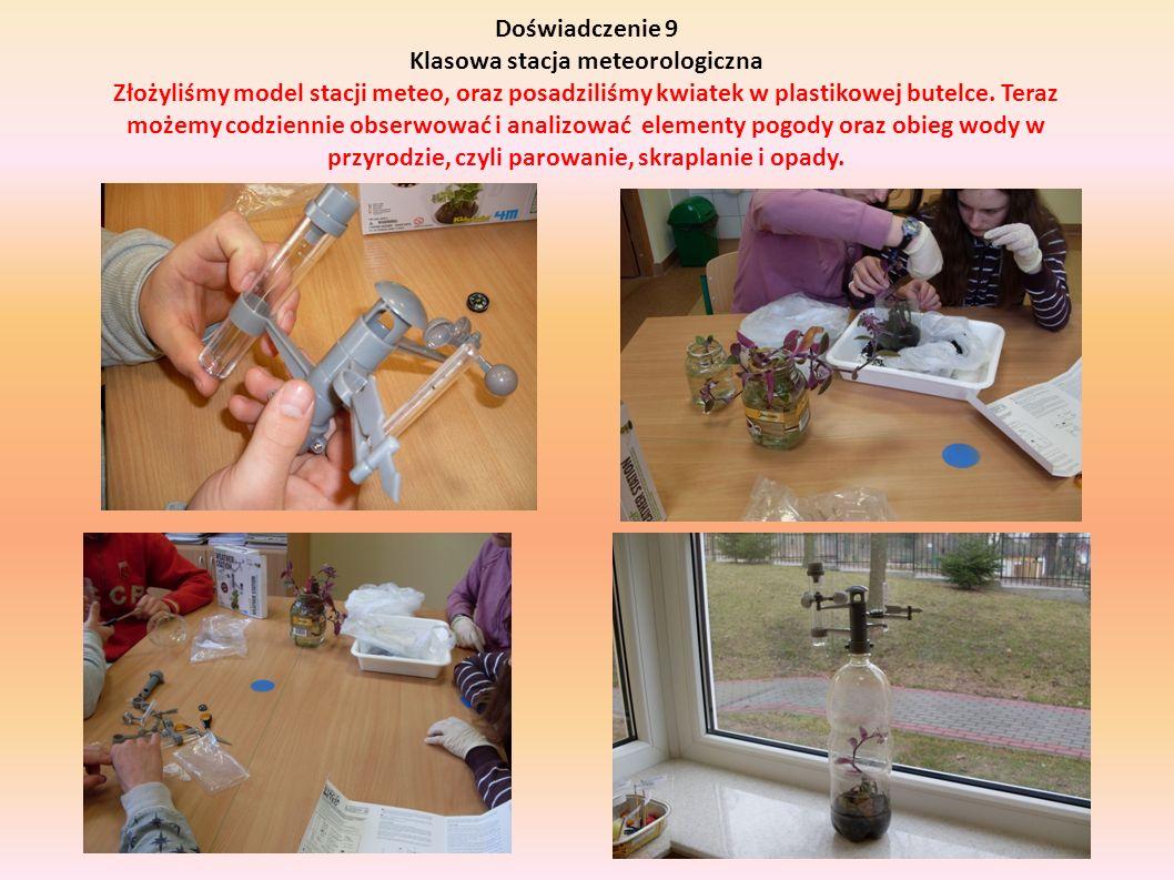 Doświadczenie 9 Klasowa stacja meteorologiczna Złożyliśmy model stacji meteo, oraz posadziliśmy kwiatek w plastikowej butelce.