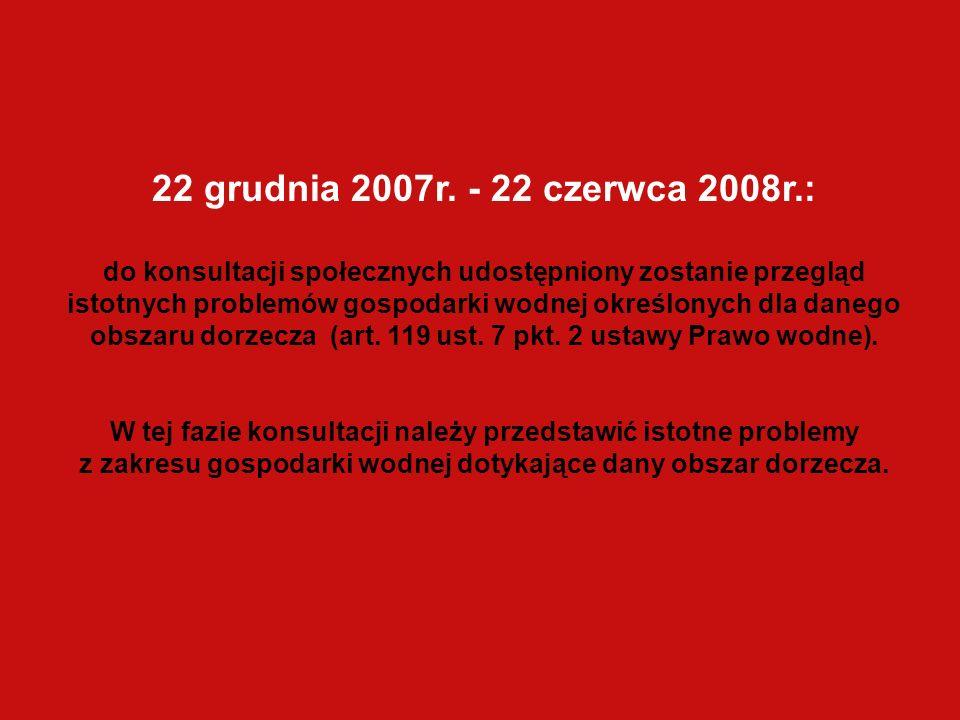 22 grudnia 2007r. - 22 czerwca 2008r.: