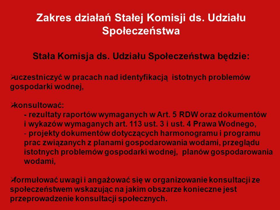 Zakres działań Stałej Komisji ds. Udziału Społeczeństwa
