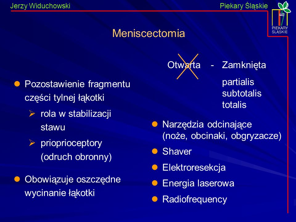Meniscectomia Otwarta - Zamknięta partialis subtotalis totalis
