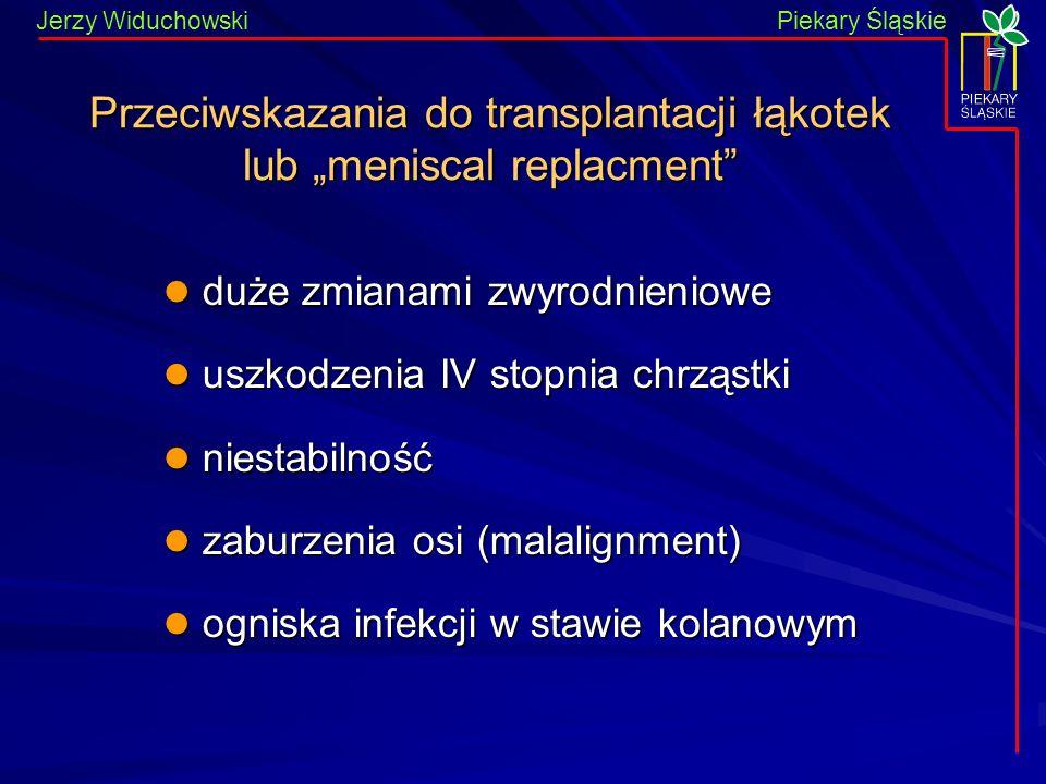 """Przeciwskazania do transplantacji łąkotek lub """"meniscal replacment"""