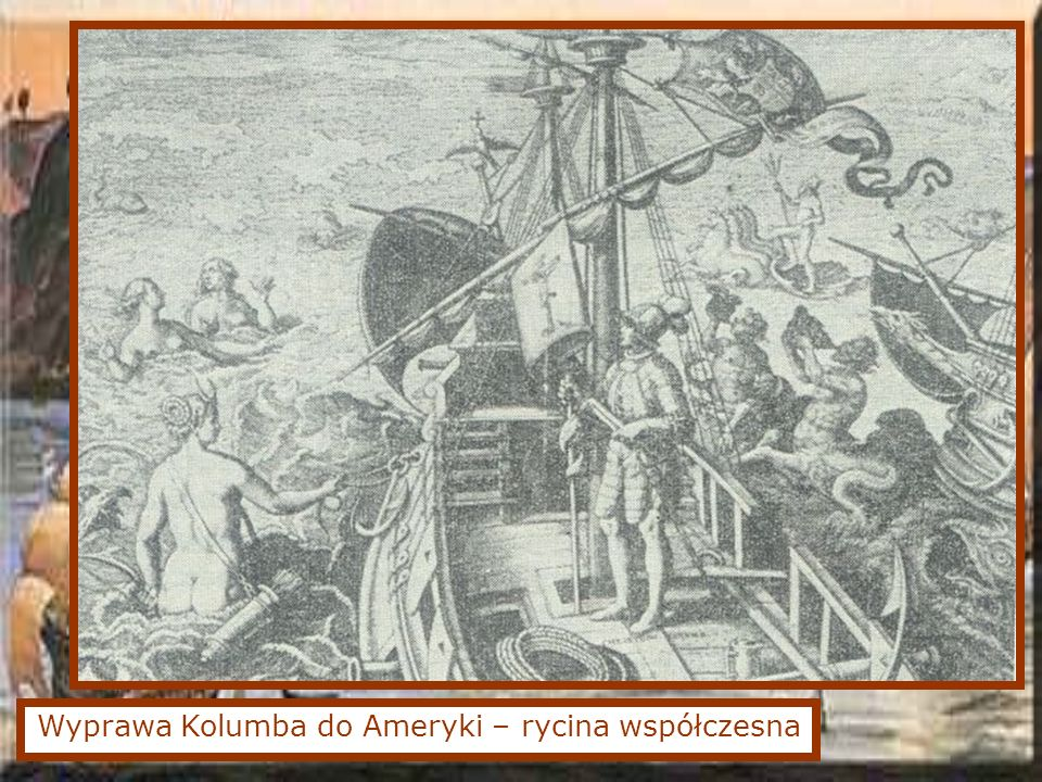 Wyprawa Kolumba do Ameryki – rycina współczesna
