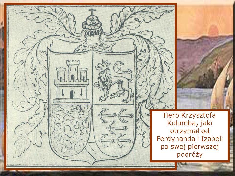 Herb Krzysztofa Kolumba, jaki otrzymał od Ferdynanda i Izabeli po swej pierwszej podróży