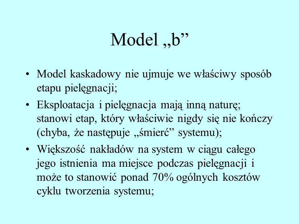 """Model """"b Model kaskadowy nie ujmuje we właściwy sposób etapu pielęgnacji;"""