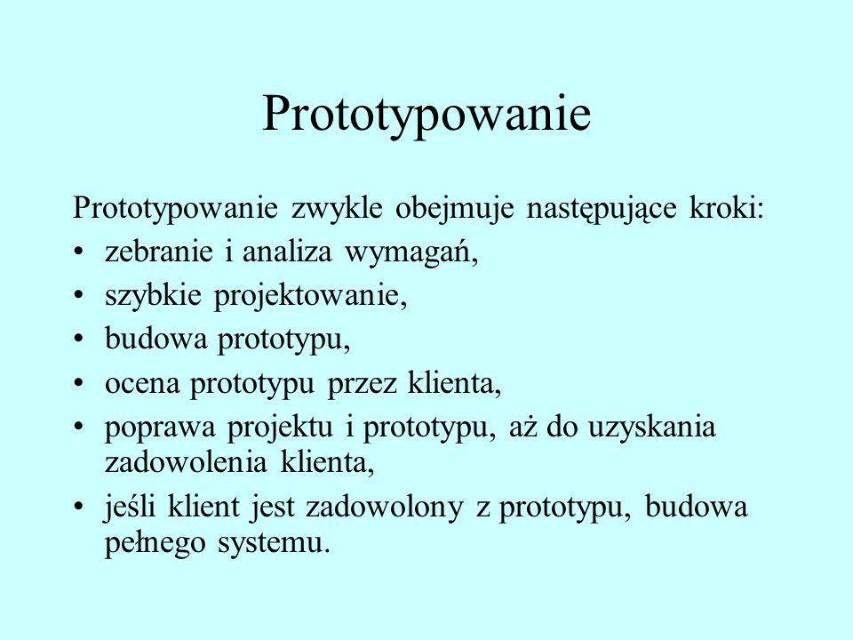 Prototypowanie Prototypowanie zwykle obejmuje następujące kroki:
