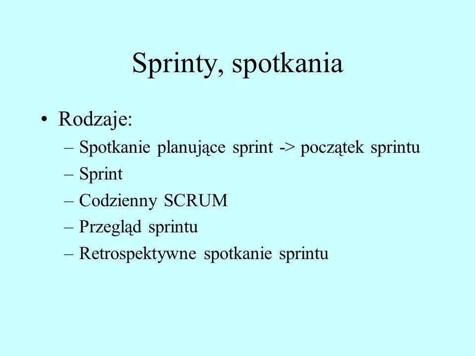 Sprinty, spotkania Rodzaje: