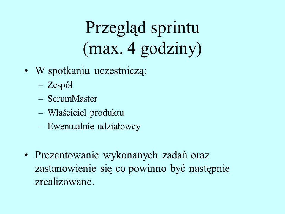 Przegląd sprintu (max. 4 godziny)
