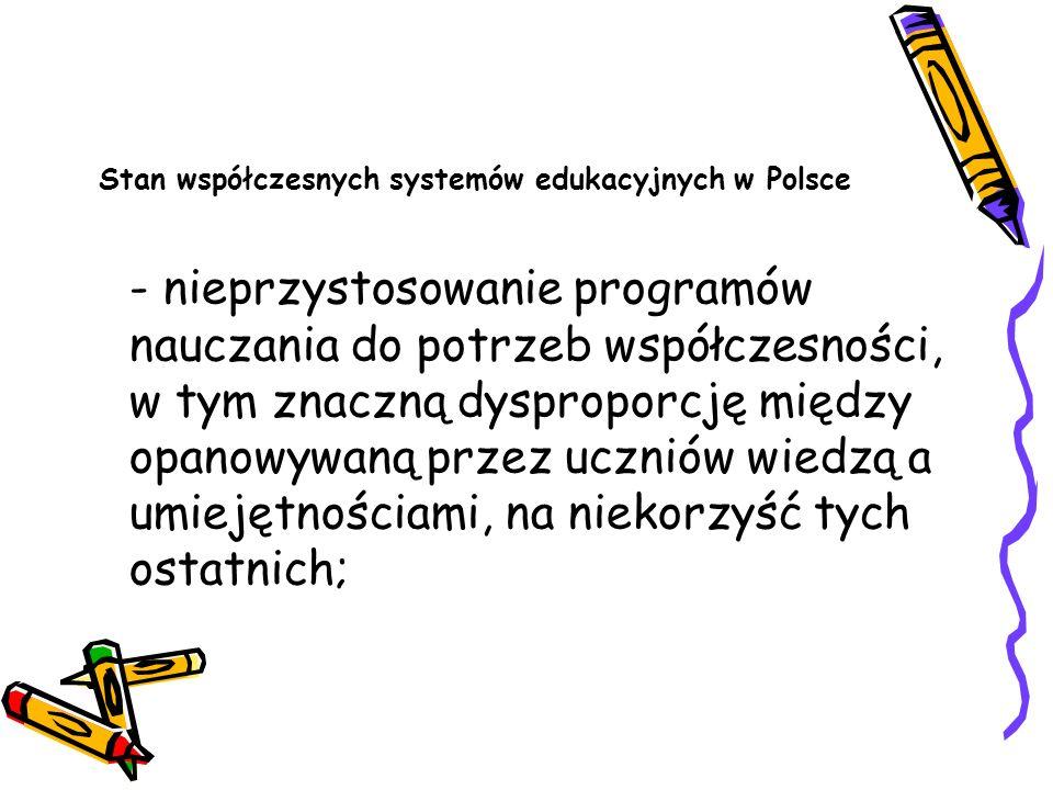 Stan współczesnych systemów edukacyjnych w Polsce