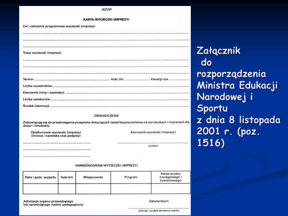 Załącznik do rozporządzenia Ministra Edukacji Narodowej i Sportu z dnia 8 listopada 2001 r.