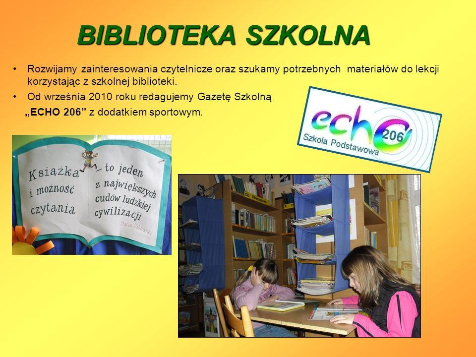 BIBLIOTEKA SZKOLNA Rozwijamy zainteresowania czytelnicze oraz szukamy potrzebnych materiałów do lekcji korzystając z szkolnej biblioteki.