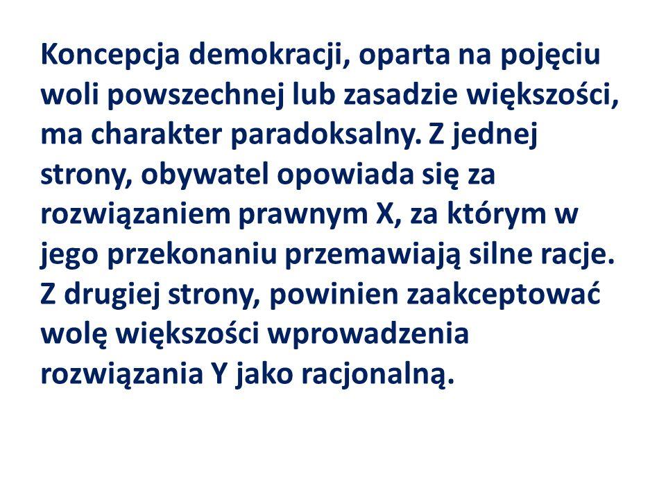 Koncepcja demokracji, oparta na pojęciu woli powszechnej lub zasadzie większości, ma charakter paradoksalny.
