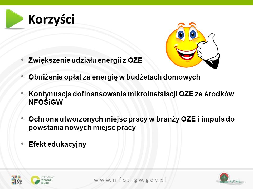 Korzyści Zwiększenie udziału energii z OZE