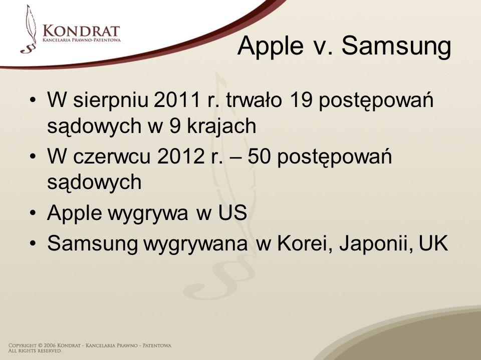 Apple v. Samsung W sierpniu 2011 r. trwało 19 postępowań sądowych w 9 krajach. W czerwcu 2012 r. – 50 postępowań sądowych.