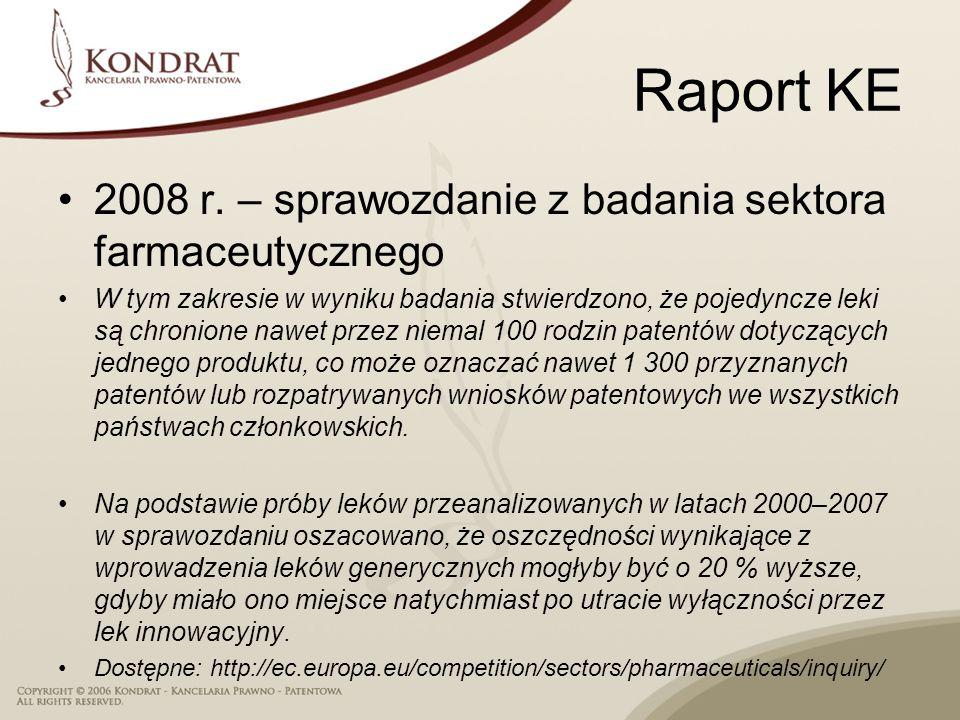 Raport KE 2008 r. – sprawozdanie z badania sektora farmaceutycznego