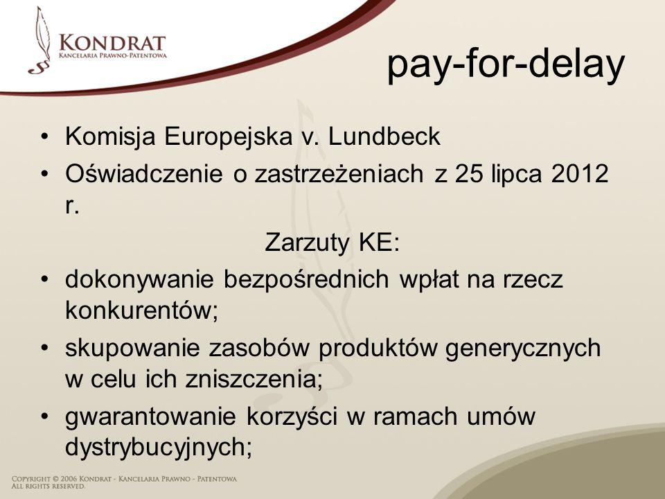 pay-for-delay Komisja Europejska v. Lundbeck
