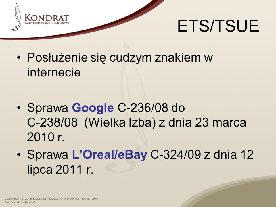 ETS/TSUE Posłużenie się cudzym znakiem w internecie