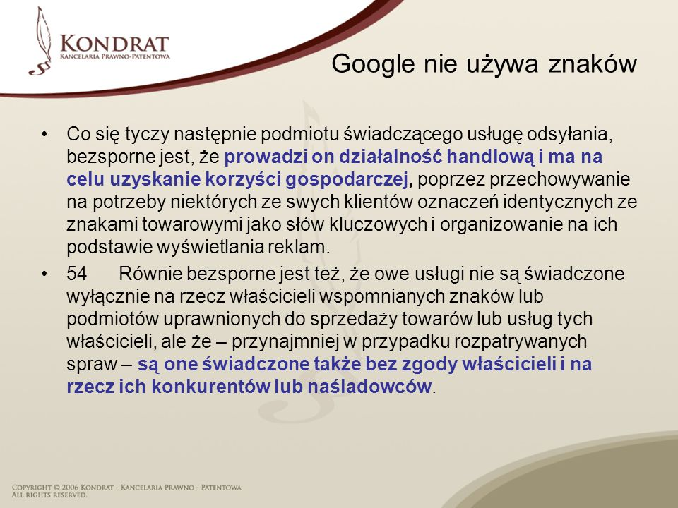 Google nie używa znaków