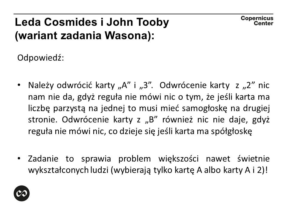 Leda Cosmides i John Tooby (wariant zadania Wasona):