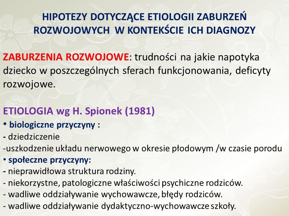 ETIOLOGIA wg H. Spionek (1981) biologiczne przyczyny :